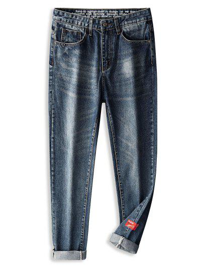 Zip Fly Applique Long Jeans - Peacock Blue 38