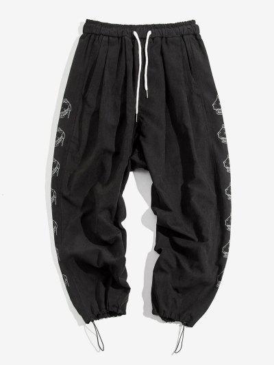 Cartoon Croc Pattern Elastic Waist Pants - Black S