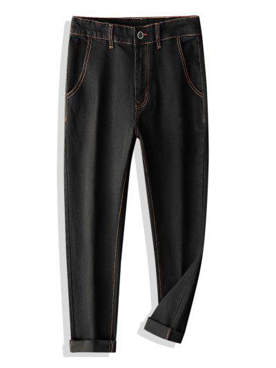 Colorblock Stitching Multi-pocket Applique Jeans - Black 32