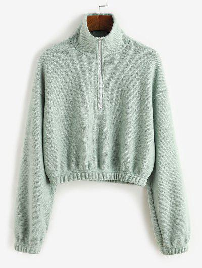 ZAFUL Half Zipper Crop Sweater - Cyan Opaque S