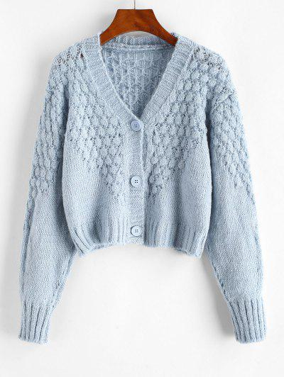 Drop Shoulder Openwork V Neck Cardigan - Light Blue