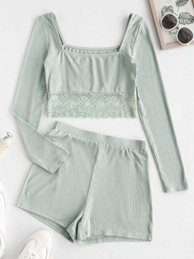 ZAFUL Pyjama Shorts Mit Geripptem Spitzeneinsatz Set - Minzgrün S