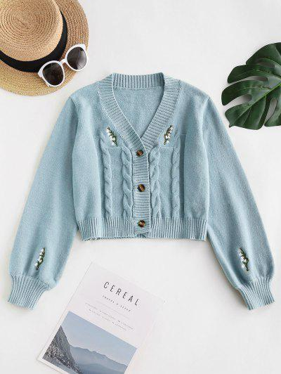 Button Up Embroidered Cable Knit Cardigan - Pastel Blue