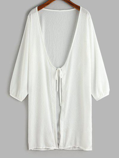 Tie Front Longline Cover Up Top - White