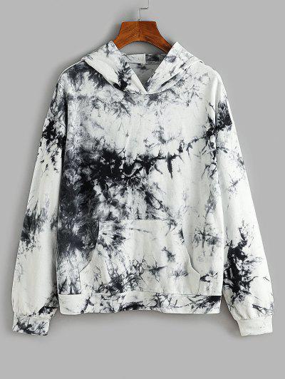ZAFUL Kangaroo Pocket  Tie Dye Pullover Hoodie - Black S