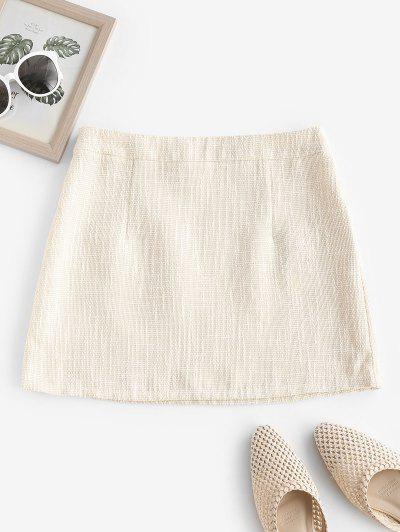ZAFUL Tweed Mini Bodycon Skirt - Warm White Xl
