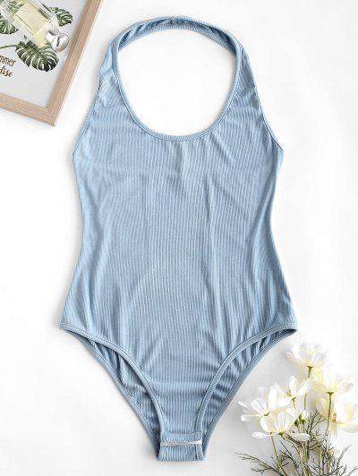 ZAFUL Ribbed Halter Backless Bodysuit - Blue Gray M