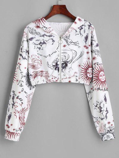 Sun And Wind Print Hooded Zip Crop Jacket - White S