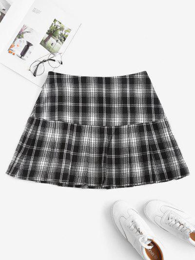 ZAFUL Plaid Pleated Flounce Hem Skirt - Black L