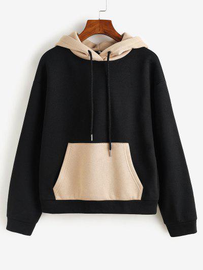ZAFUL Colorblock Kangaroo Pocket Hoodie - Black S
