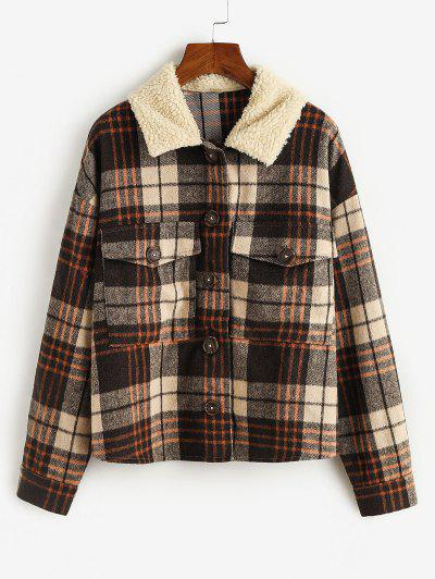 ZAFUL Plaid Flap Pockets Faux Fur Collar Jacket - Coffee L