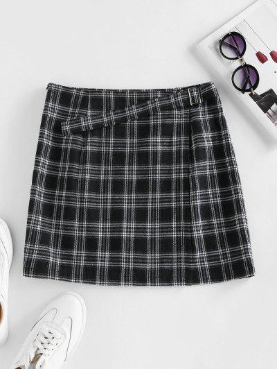 ZAFUL Plaid Buckle Zip Mini Skirt - Black S