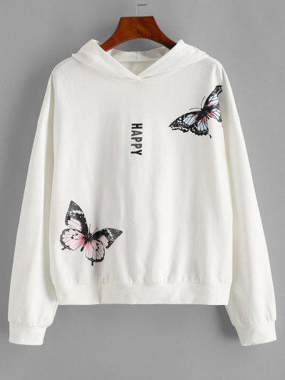 ZAFUL Drop Shoulder Happy Butterfly Hoodie - White S