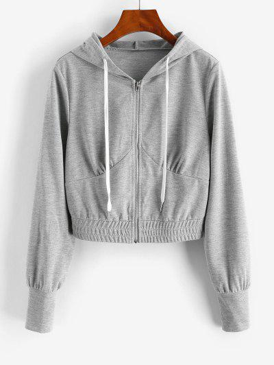 ZAFUL Zip Up Drawstring Cropped Hoodie - Gray Goose M