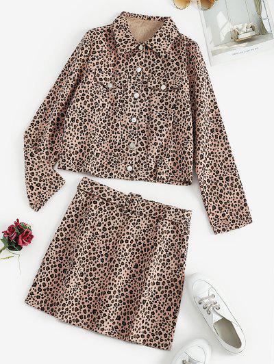 Leopard Button Up Jacket And Mini Skirt Set - Light Pink M