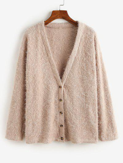 ZAFUL Button Up Fluffy Eyelash Cardigan - Khaki Rose S