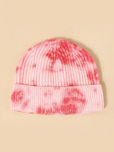 Tie Dye Ribbed Knitted Hat - Light Pink