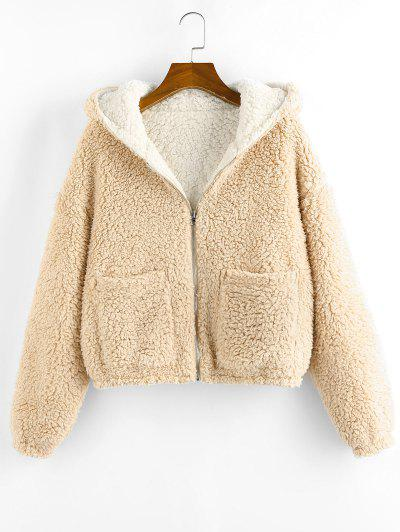 ZAFUL Reversible Hooded Pocket Drop Shoulder Teddy Coat - Light Coffee L