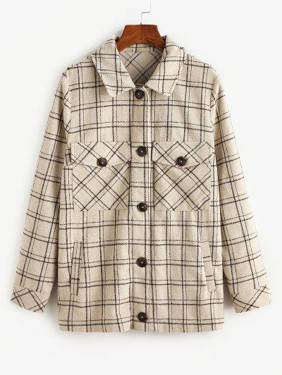 ZAFUL Checked Front Pockets Tunic Coat - Light Khaki Xl