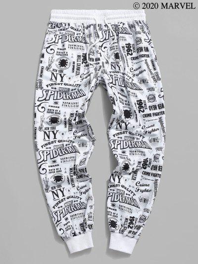 Marvel Spider-Man Graphic Pattern Jogger Sweatpants - White S