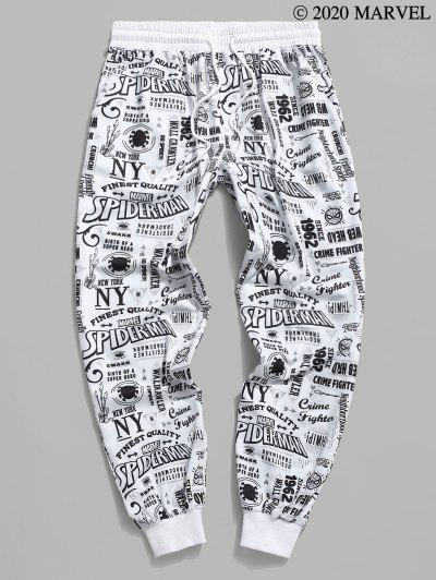 Marvel Spider-Man Graphic Pattern Jogger Sweatpants - White M