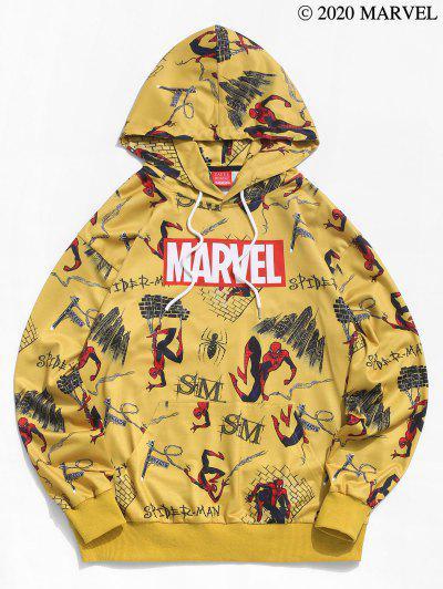 Sudadera Con Capucha De Bolsillo De Canguro Con Estampado De Spider-Man - Amarillo Brillante Xl