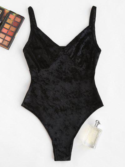 Plunging Velvet Backless Bodysuit - Black S