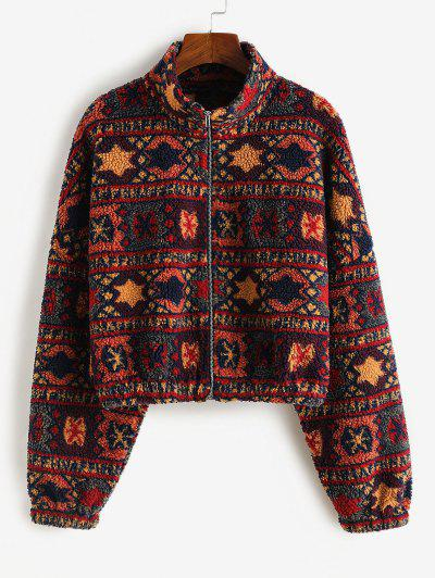 ZAFUL Tribal Print Short Teddy Coat - Firebrick M
