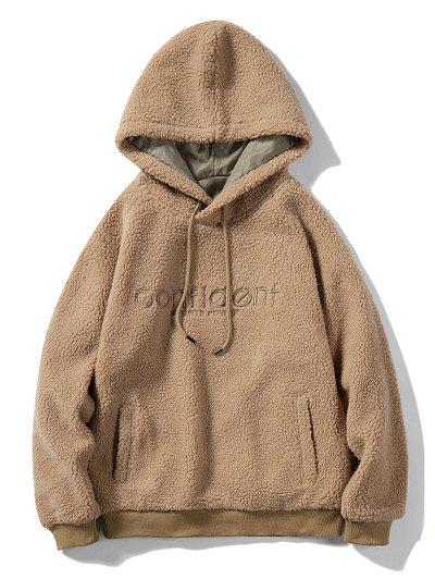 Letter Embroidered Kangaroo Pocket Teddy Hoodie - Khaki S