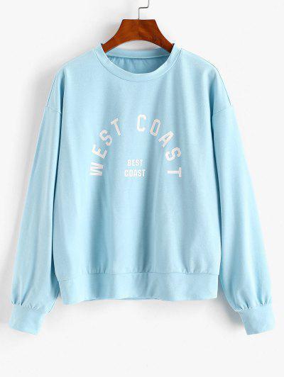 ZAFUL Drop Shoulder WEAT COAST Graphic Sweatshirt - Day Sky Blue M