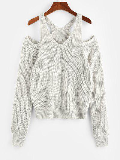ZAFUL Cold Shoulder Cutout Textured Sweater - Light Gray S