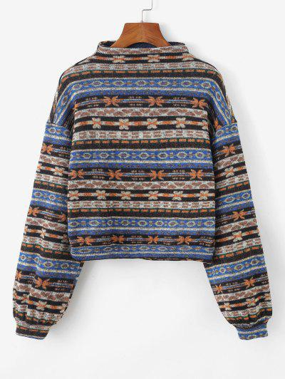 ZAFUL Sweat-shirt Tricoté Tribal Imprimé à Goutte Epaule - Multi-a M