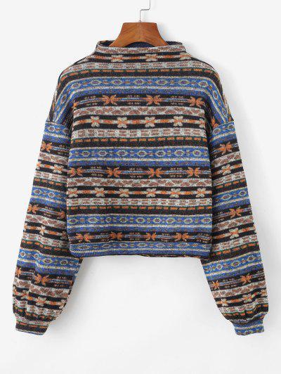 ZAFUL Tribal Print Knitted Drop Shoulder Sweatshirt - Multi-a S