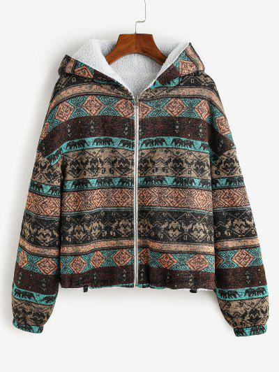 ZAFUL  Hooded Tribal Print Faux Fur Lined Coat - Deep Brown L