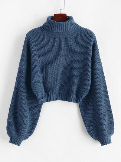 ZAFUL Turtleneck Lantern Sleeve Cropped Sweater - Blue Ivy S