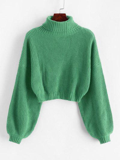ZAFUL Turtleneck Lantern Sleeve Cropped Sweater - Dark Sea Green S
