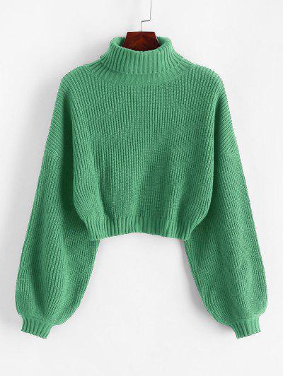 ZAFUL Turtleneck Lantern Sleeve Cropped Sweater - Dark Sea Green M