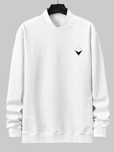 Geometric Print Rib-knit Trim Sweatshirt - White Xs