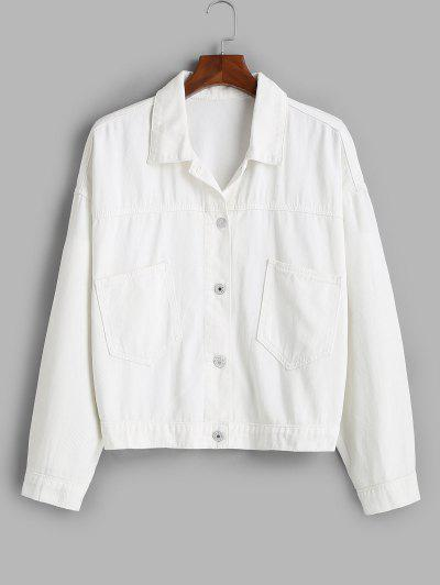Front Pockets Button Up Plus Size Denim Jacket - White 1x