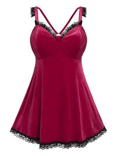 Plus Size Velvet Lace Insert Backless Lingerie Dress Set - Velvet Maroon 5x