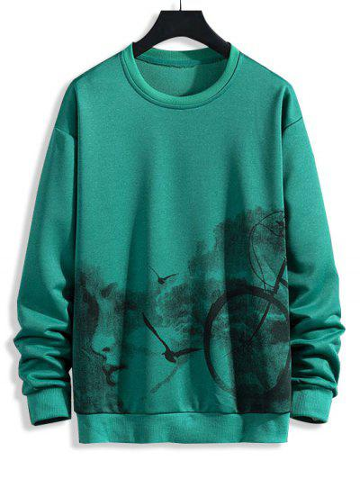 Birds Biker Print Rib-knit Trim Sweatshirt - Jungle Green Xs