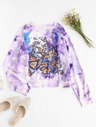 Tie Dye Butterfly Drop Shoulder Sweatshirt - Purple Xl
