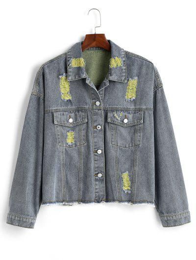 Ripped Frayed Hem Plus Size Denim Jacket - Yellow 4x