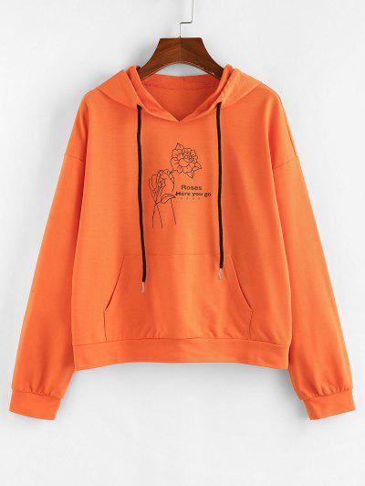 ZAFUL Graphic Pocket Drop Shoulder Hoodie - Pumpkin Orange M