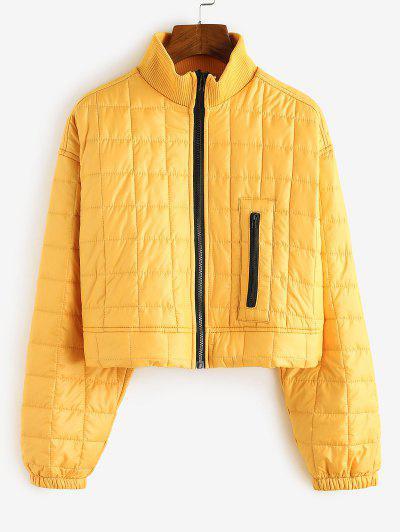 High Neck Zip Drop Shoulder Padded Coat - Yellow Xl
