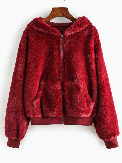 ZAFUL Faux Fur Hooded Fuzzy Coat - Firebrick S