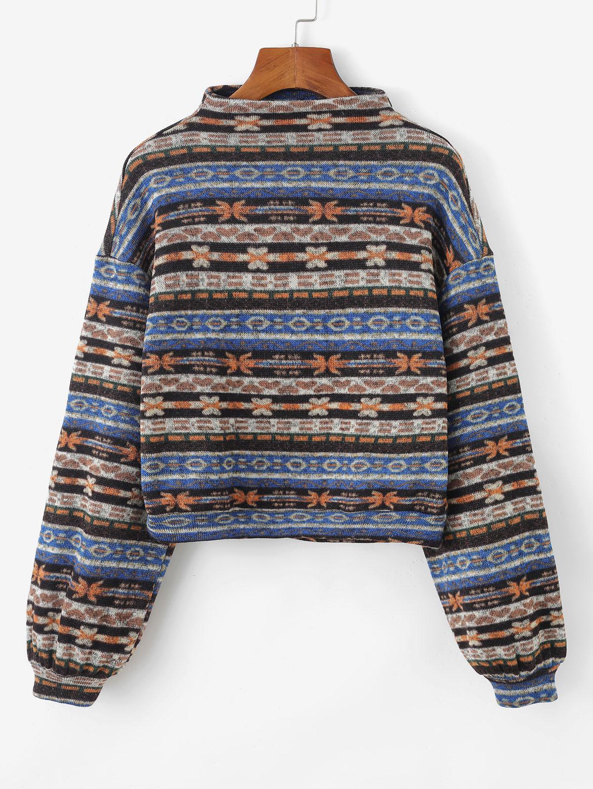 Sweat-shirt Tricoté Tribal Imprimé à Goutte Epaule - ZAFUL - Modalova