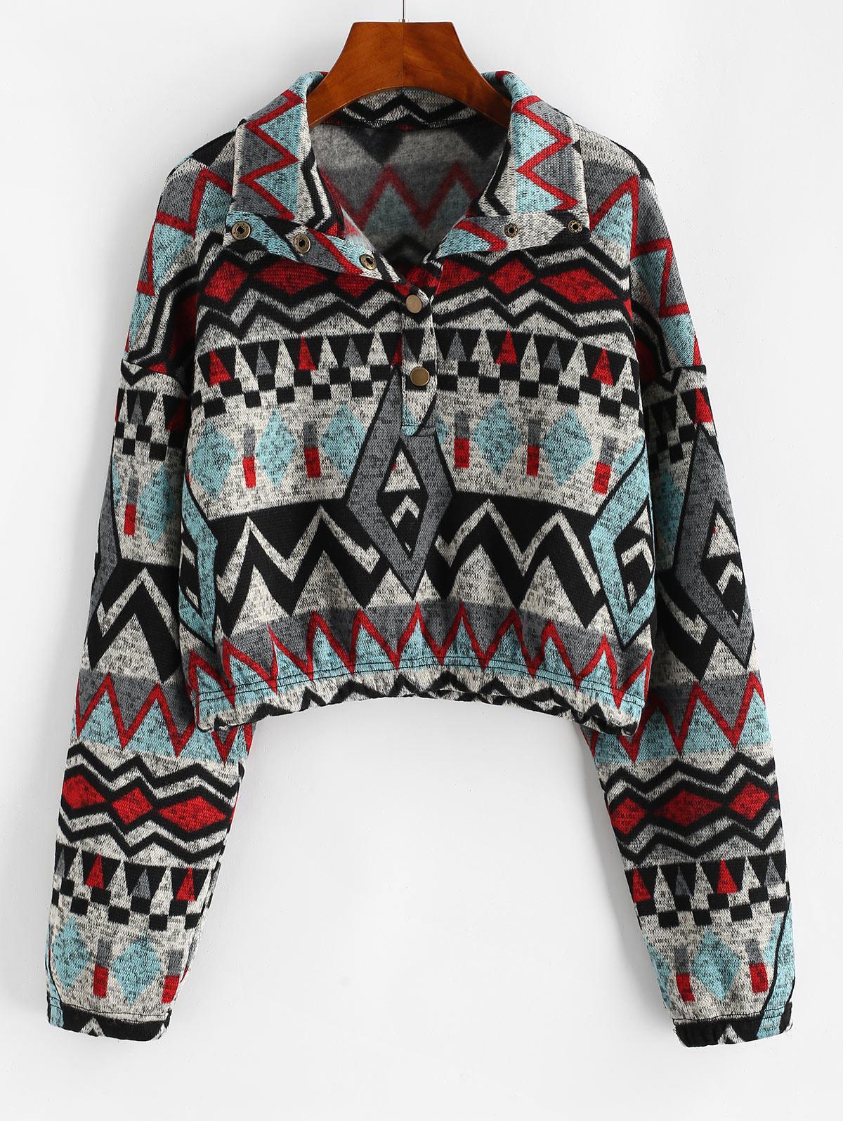 ZAFUL Drop Shoulder Snap Button Tribal Print Sweatshirt  - buy with discount