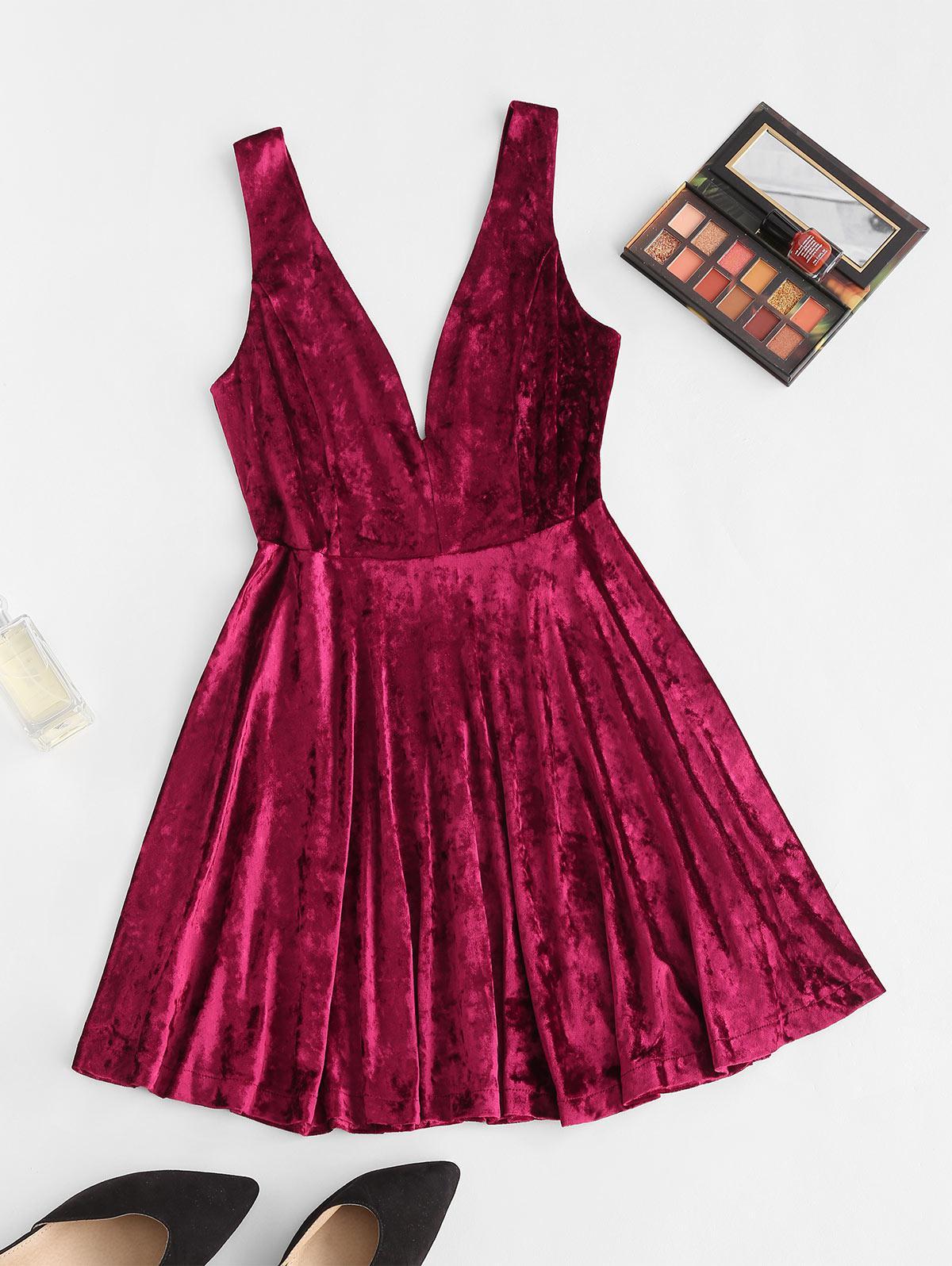 Double V Sleeveless Velvet Skater Dress