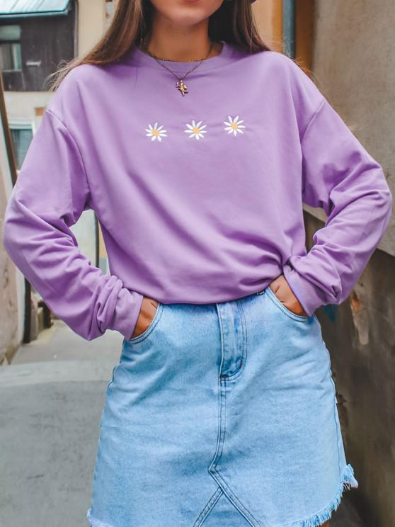 outfit Crew Neck Daisy Embroidered Sweatshirt - LIGHT PURPLE S